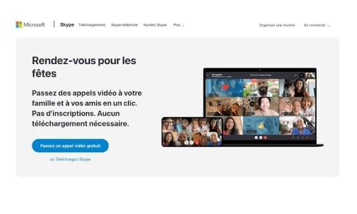 homepage de skype
