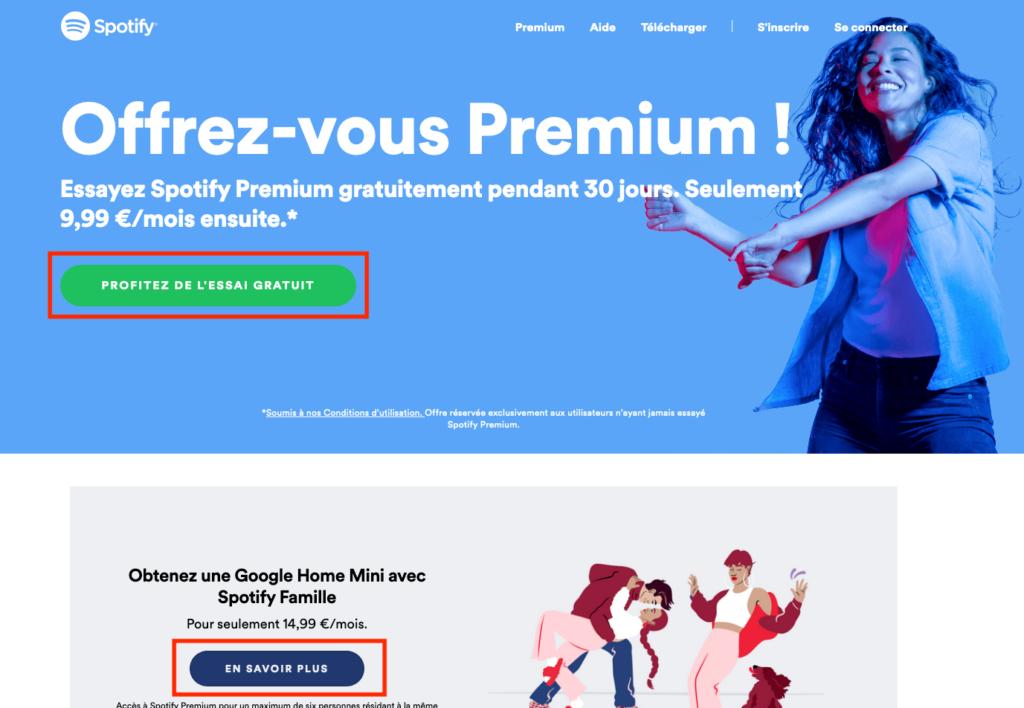 landing page de spotify premium