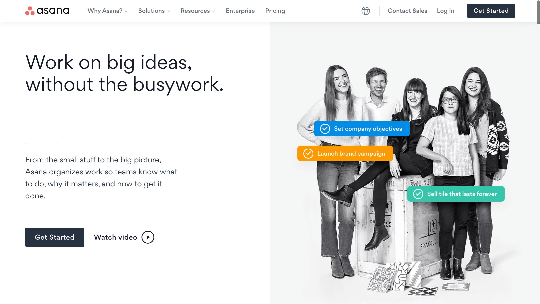 Asana's homepage